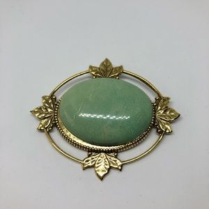 Vintage green and gold brooch